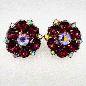 VTG Purple & Aurora Borealis Rhinestone Earrings